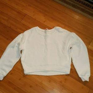Lilka anthro white crop crew neck sweatshirt small